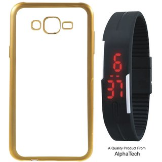 Alphatech Preum Quality Chrome Tpu Back Cover for Lenovo K6 with Golden Electroplated Edges with Free Digital Watch