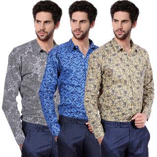 Balino London  Printed Poly-Cotton Shirts pack of 3