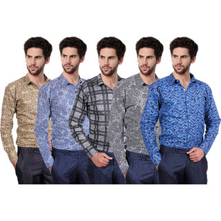 Balino London  Printed Poly-Cotton Shirts pack of 5