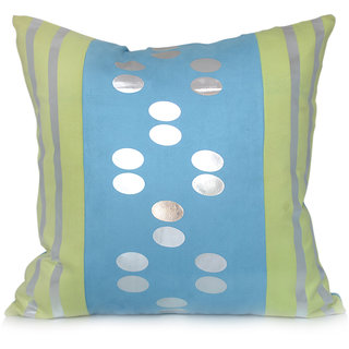 Jagdish Store Blue and Green Foil Print Blended Cushion Cover