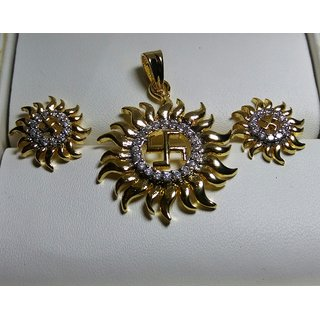 American Diamond Gold Plated Pendant Set With Earring For Girls / Women