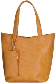 Azzra Mustard Shoulder/Tote Handbag With Mobile Pouch