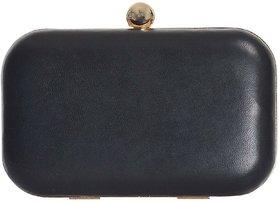 Azzra Black Genuine Leather Party Box Clutch For Women/Girls