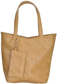 Azzra Beige Shoulder/Tote Handbag With Mobile Pouch
