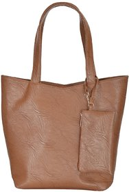 Azzra Brown Shoulder/Tote Handbag With Mobile Pouch