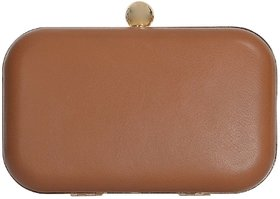 Azzra Brown Tan Genuine Leather Evening  Box Clutch For Women/Girls