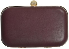 Azzra Brown Genuine Leather Evening  Box Clutch For Women/Girls