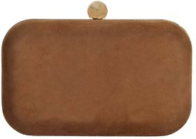 Azzra Brown Genuine Suede Leather Party Box Clutch For Women/Girls
