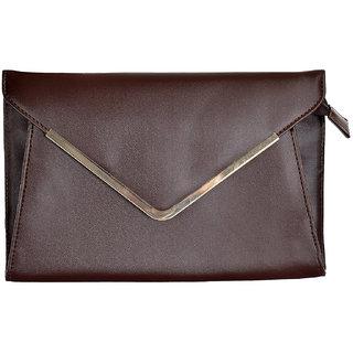 Azzra Brown Elegant Envelope Clutch