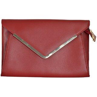 Azzra Red Elegant Envelope Clutch