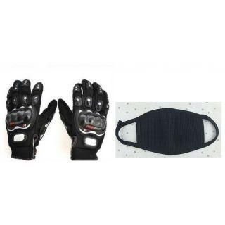 Combo Black Pro-biker Gloves+Anti Pollution Face Mask