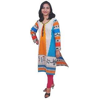Cotton kurti - Office & Casual wear - Cream & Multicolor – REVEZ