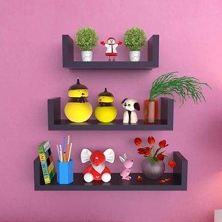 Onlineshoppee MDF Handicraft Wall Decor U-shaped Designer Wall Shelf Pack of 3 - Black