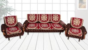Choco Creations Velvet 10Pcs Sofa Cover with Attractive Colour and Floral Design