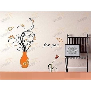 Asmi Collections Pvc Wall Stickers Beautiful Orange Vase and Flowers Butterflies