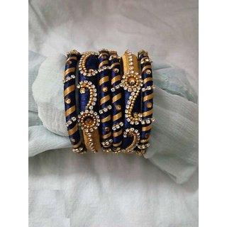 Gold And Blue Coloured Silk Thread Bangle Set