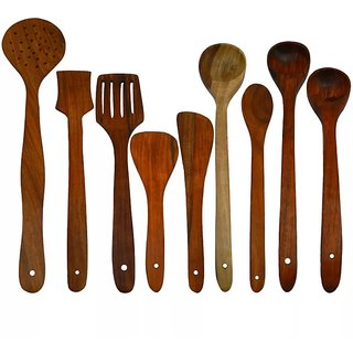 Onlineshoppee Antique Wooden Handmade Serving and Cooking Spoon Set of 9