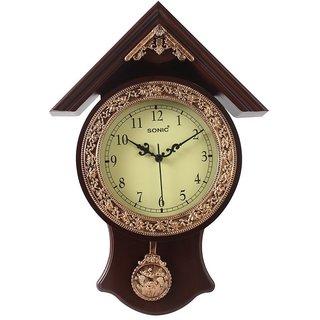 Sonic Haveli Pendulum Clock ( Brown)