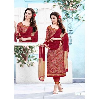 Suryajyoti Cotton Dress Materials Printed With Chiffon Duptto (Unstitched)