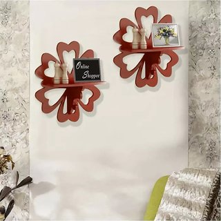 Onlineshoppee Beautiful MDF Decorative Wall Shelf Set Of 2 - Brown
