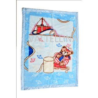 Valtellina Sea With Bear Design Double Ply Baby Mink Blanket (BMB-001)