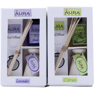 AuraDecor Reed Diffuser Gift Set includes Two Ceramic Ivory Colour Burner, Two 30 ml Reed Diffuser Oil (Lavender, Citrus