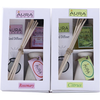 AuraDecor Reed Diffuser Gift Set includes Two Ceramic Ivory Colour Burner, Two 30 ml Reed Diffuser Oil (Rosemary, Citrus