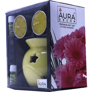 AuraDecor Ceramic Aroma Oil Burner with Tealight  Two 5ml Aroma Oil (Assorted Colors)