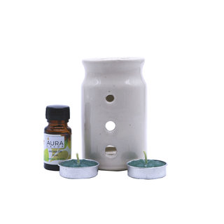 AuraDecor Ceramic Aroma Oil Burner with 2 Tealights  1 10ml Aroma Oil