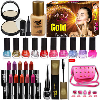 Color Diva Makeup Combo Sets With Skin Diva Skin Care Facial Kit-80g Pack of 23 Pc