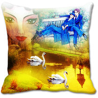 Yellow Couple Digitally Printed Cushion Cover