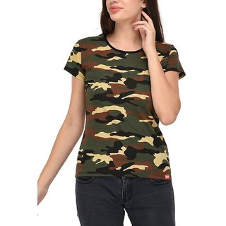 Buy Camouflage army print t shirt for women Online   ₹225 from ... bb2045ea630