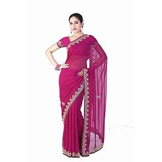 9d3d96e9bece3 Fuchsia Pink Sari With Brocade Blouse Ladyselection