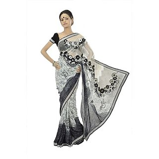 Off White And Black Faux Georgette Saree With Blouse
