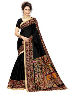 Meia Multicolor Art Silk Khadi Printed Saree With Blouse