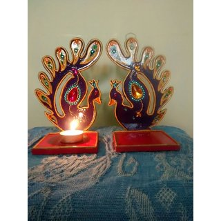 Peacock Shaped MDF Board Candle Stand