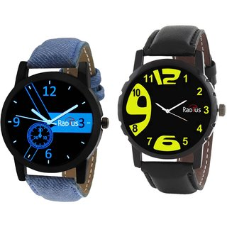 COMBO'S 2 PCS Radius Denim Analog Wrist Watch For Men