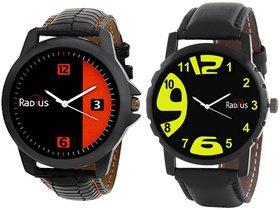 COMBO'S 2 PCS Radius Denim Analog Wrist Watch For Men