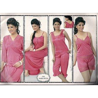 73c274161f Womens Sleep Set 6pc Top Shorts T-Shirt Capri Nighty   Roe 1701 Pink Sexy