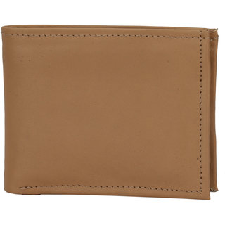 Rojyo Men Beige Maroon Genuine Leather Wallet