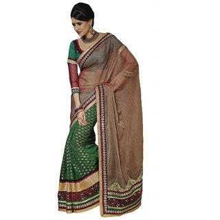 Indian Women Lovely Brown Tissue Saree With Blouse