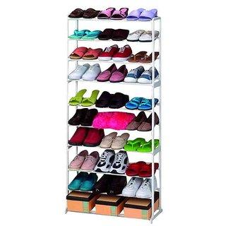 Sarahusainatther Plastic  Acrylic Corner Amazing Shoe Rack 30 Pairs Storage 10 Tier Shoe Rack Organizer (White)