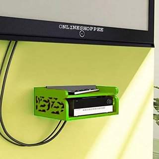 Onlineshoppee MDF Beautiful Design Set top box Wall Shelf Colour- Green