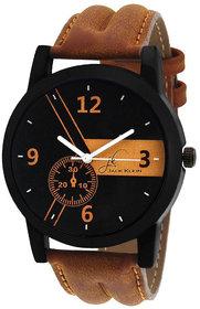 Jack Klein Round Dail Brown pu Strap Quartz Watch For Men