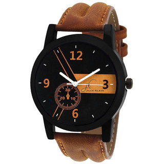Jack Klein Round Dail Brown pu Strap Quartz Watch For Men