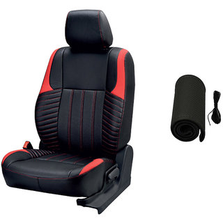 Musicar Renault Kwid Black  Leatherite Car Seat Cover with 1 Year Warranty And  Steering cover  Free