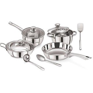 Pristine Tri Ply Induction Base Cooking Essential St. Steel Cookware Set, 10PCS, Silver