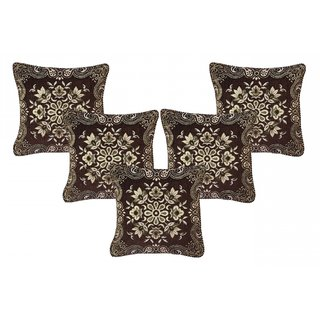 CHOCO CREATION Designer Velvet Cushion Cover Set of  5 (16x16)