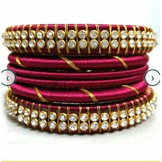 Maroon Colour Silk Thread Bangles Set
