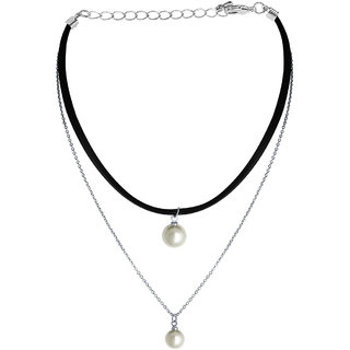 Spargz 2-Strand Black Leather Choker Necklace Simulate Pearl Long Tassel Statement Jewelry Women AIN 009
